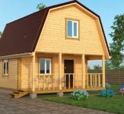 Садовый Дом из бруса Лайк 6х6, с террасой 12 м2