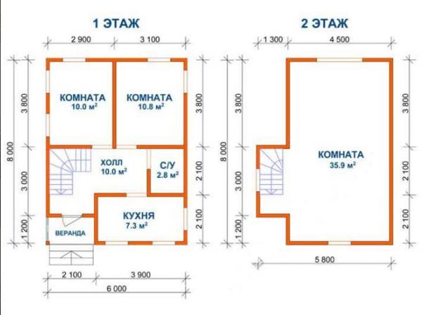 Сруб Дом Иван из бруса 6х8 м 3